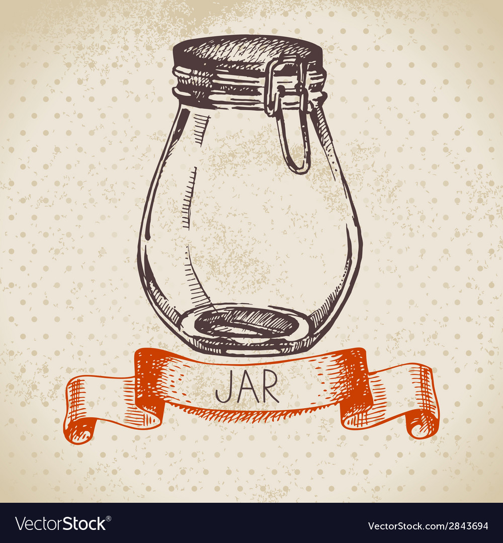 Rustic mason and canning jar vintage hand drawn vector | Price: 1 Credit (USD $1)