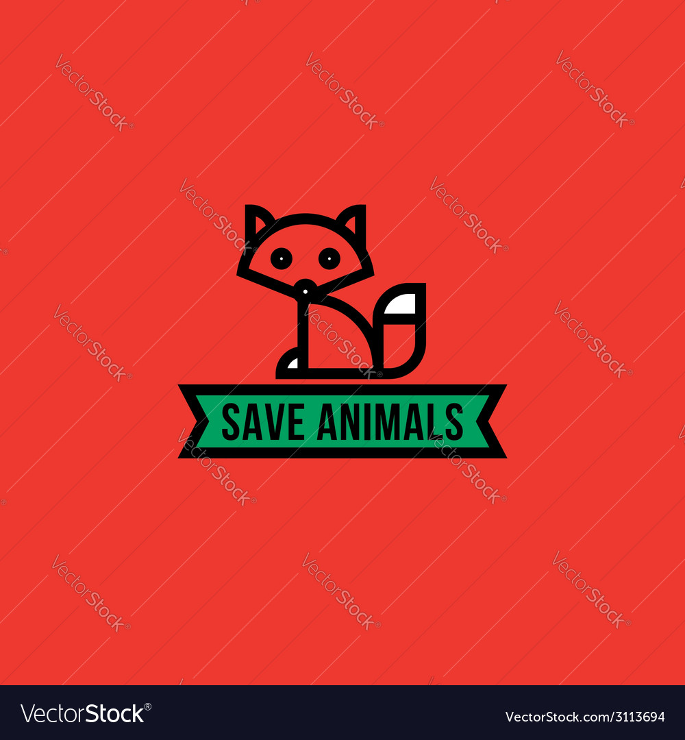 Save the animals concept with red fox vector | Price: 1 Credit (USD $1)