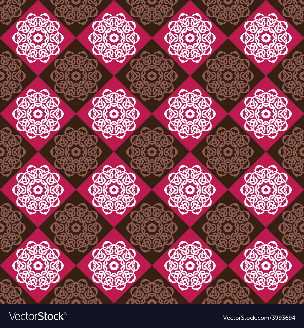 Seamless pattern of red and brown rhombuses vector | Price: 1 Credit (USD $1)