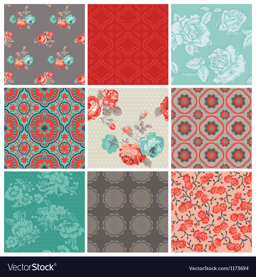 Seamless vintage flower background set vector | Price: 1 Credit (USD $1)