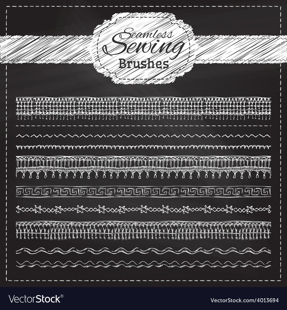 Set of chalk sewing brushes vector | Price: 1 Credit (USD $1)