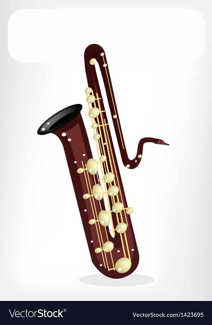 A musical bass saxophone with a white banner vector | Price: 1 Credit (USD $1)