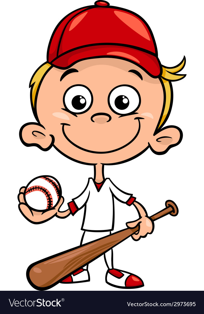 Boy baseball player cartoon vector | Price: 1 Credit (USD $1)