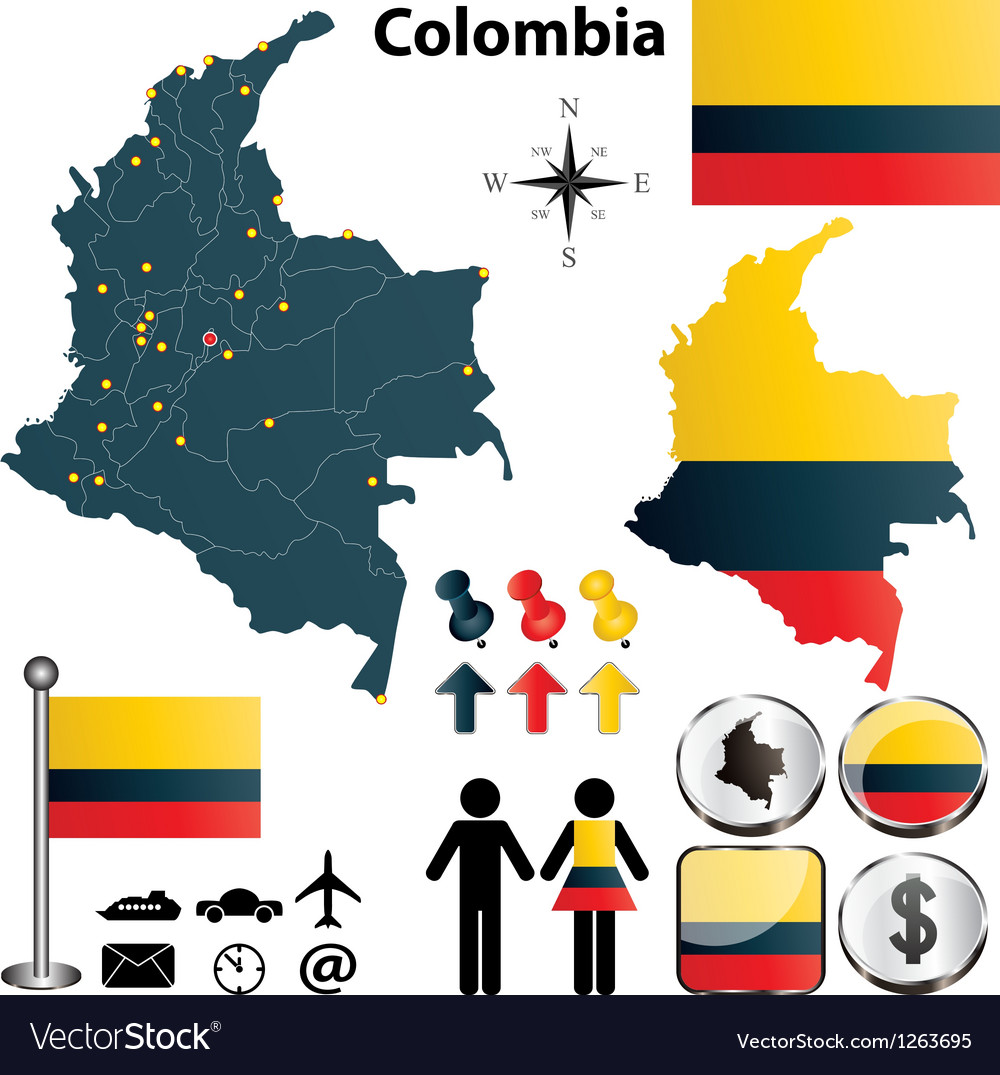 Colombia map vector | Price: 1 Credit (USD $1)