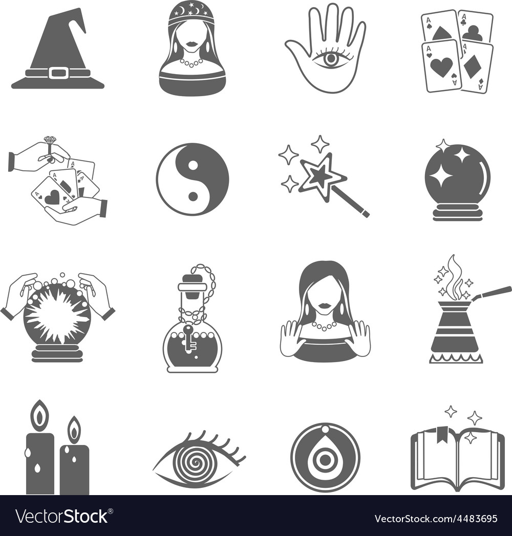 Fortune teller icon set vector