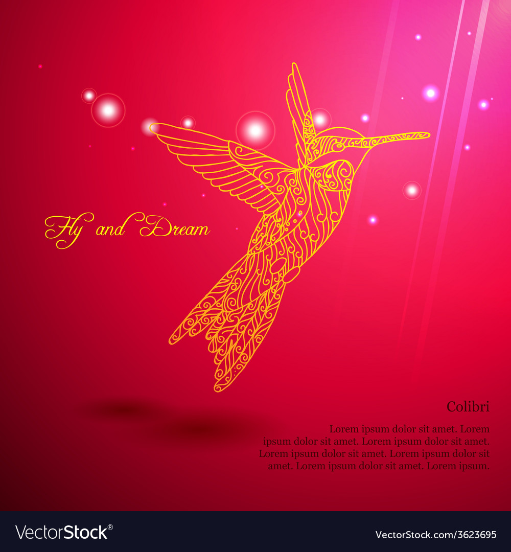 Gold lace colibri flying for dream vector | Price: 1 Credit (USD $1)