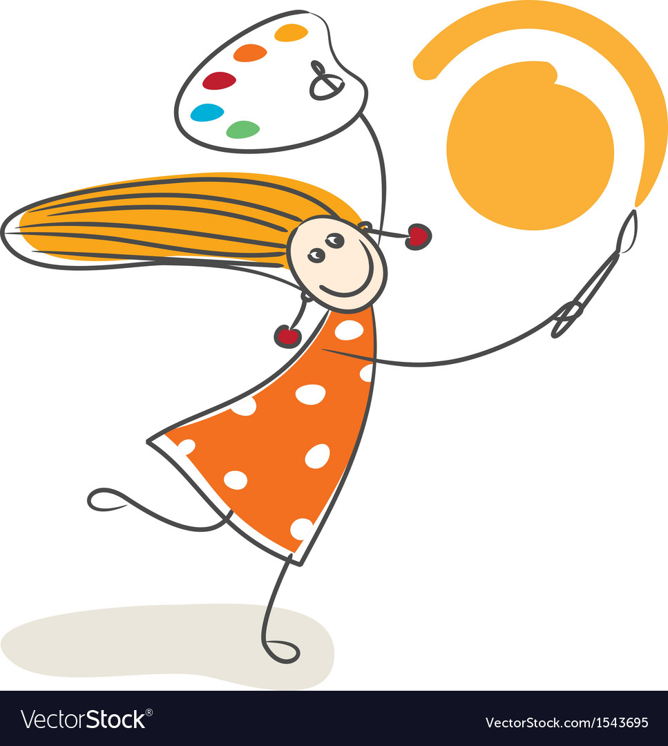 Happy little girl drawing sun vector | Price: 1 Credit (USD $1)