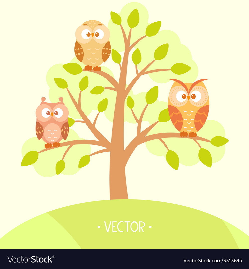 Owls in a tree vector | Price: 1 Credit (USD $1)