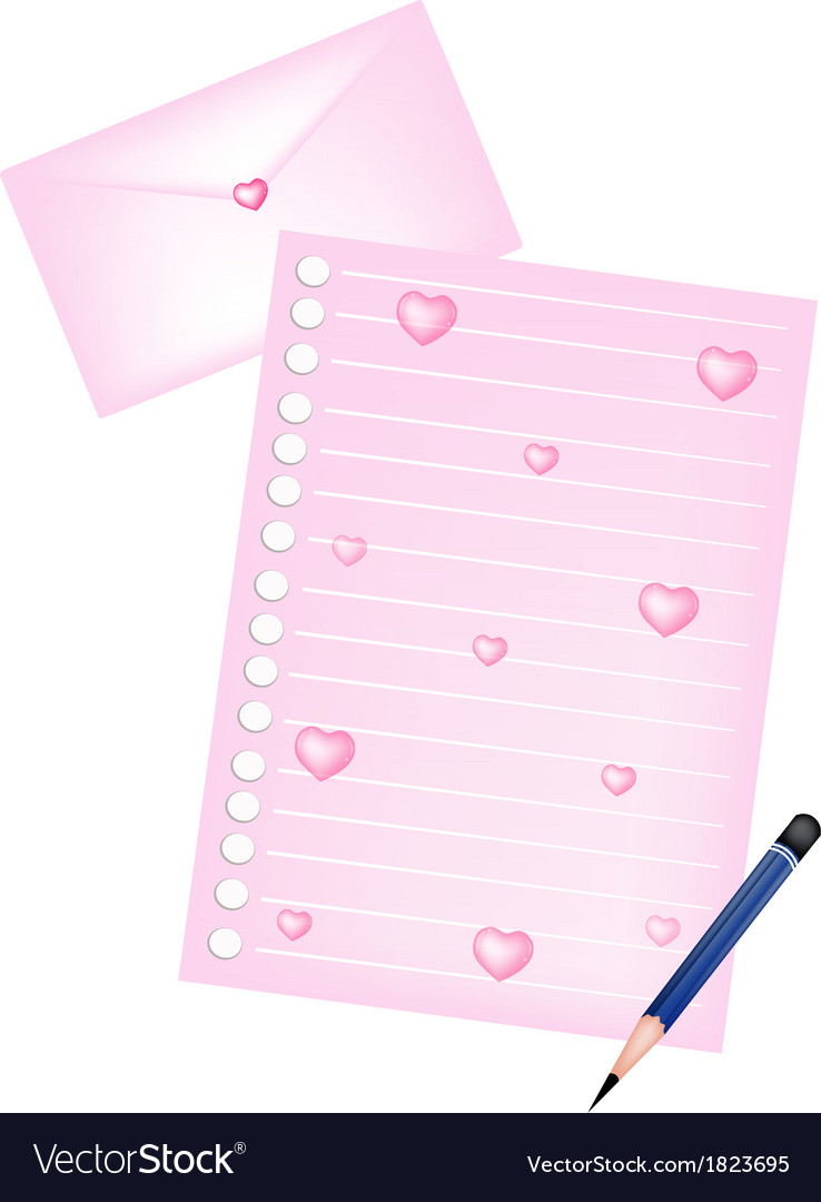 Pencils lying on blank page and love envelope vector | Price: 1 Credit (USD $1)
