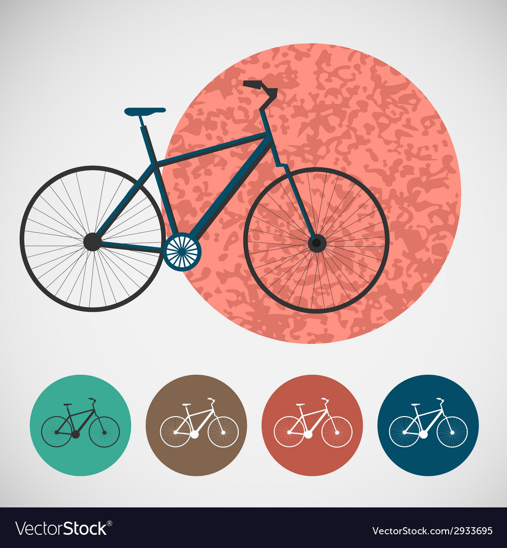 Set of bicycle on colored backgrounds vector | Price: 1 Credit (USD $1)