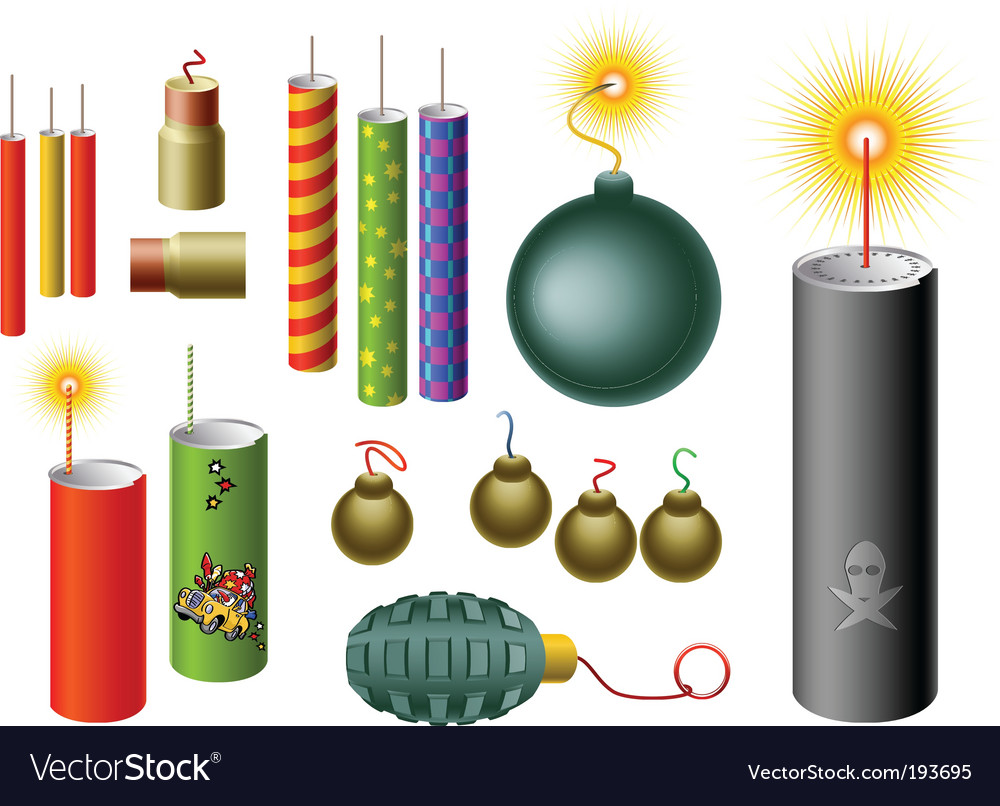 Set of firecrackers vector | Price: 1 Credit (USD $1)