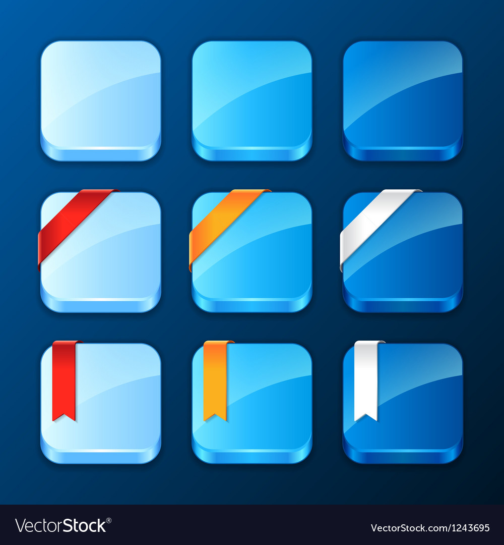 Set of the app icons with ribbons and banners vector | Price: 1 Credit (USD $1)
