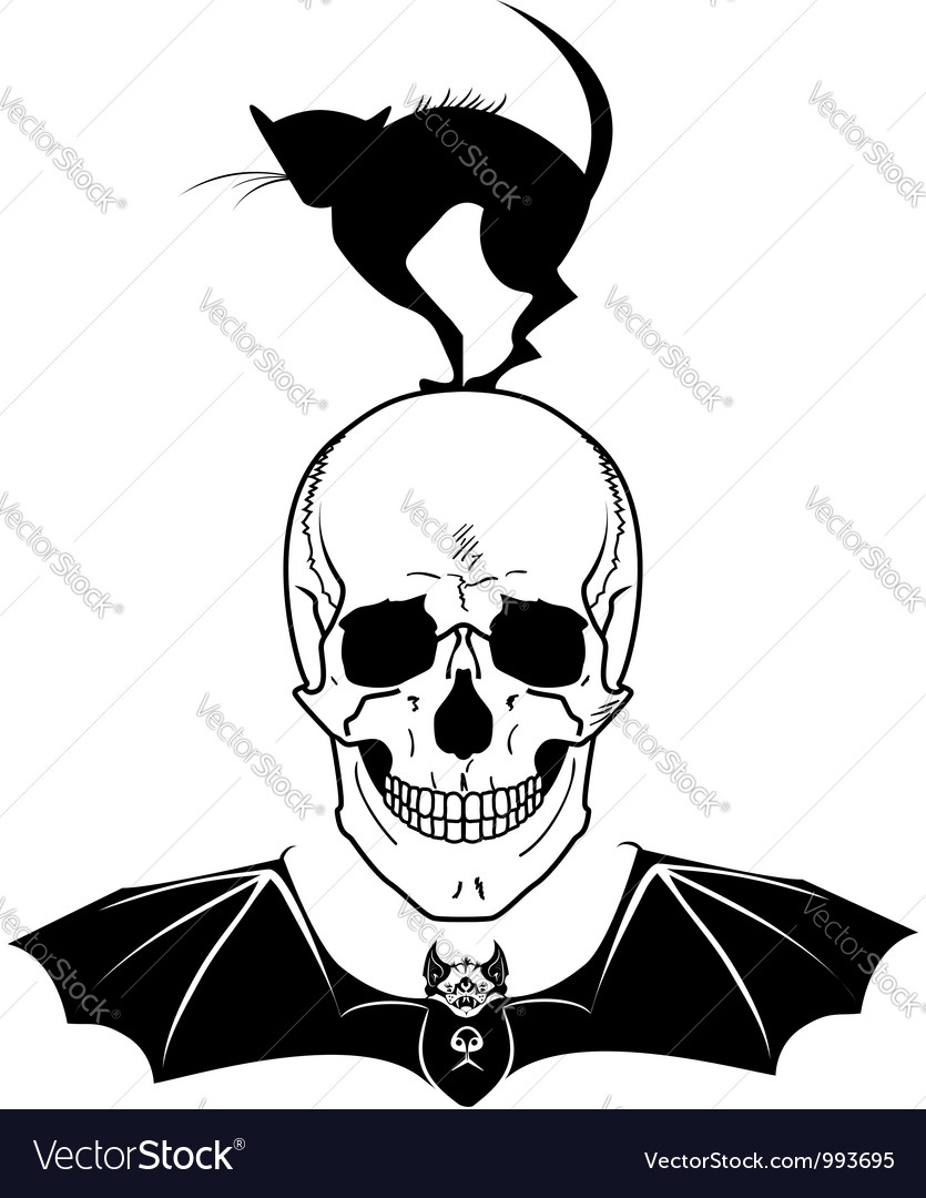 Skull cat and bat vector | Price: 1 Credit (USD $1)