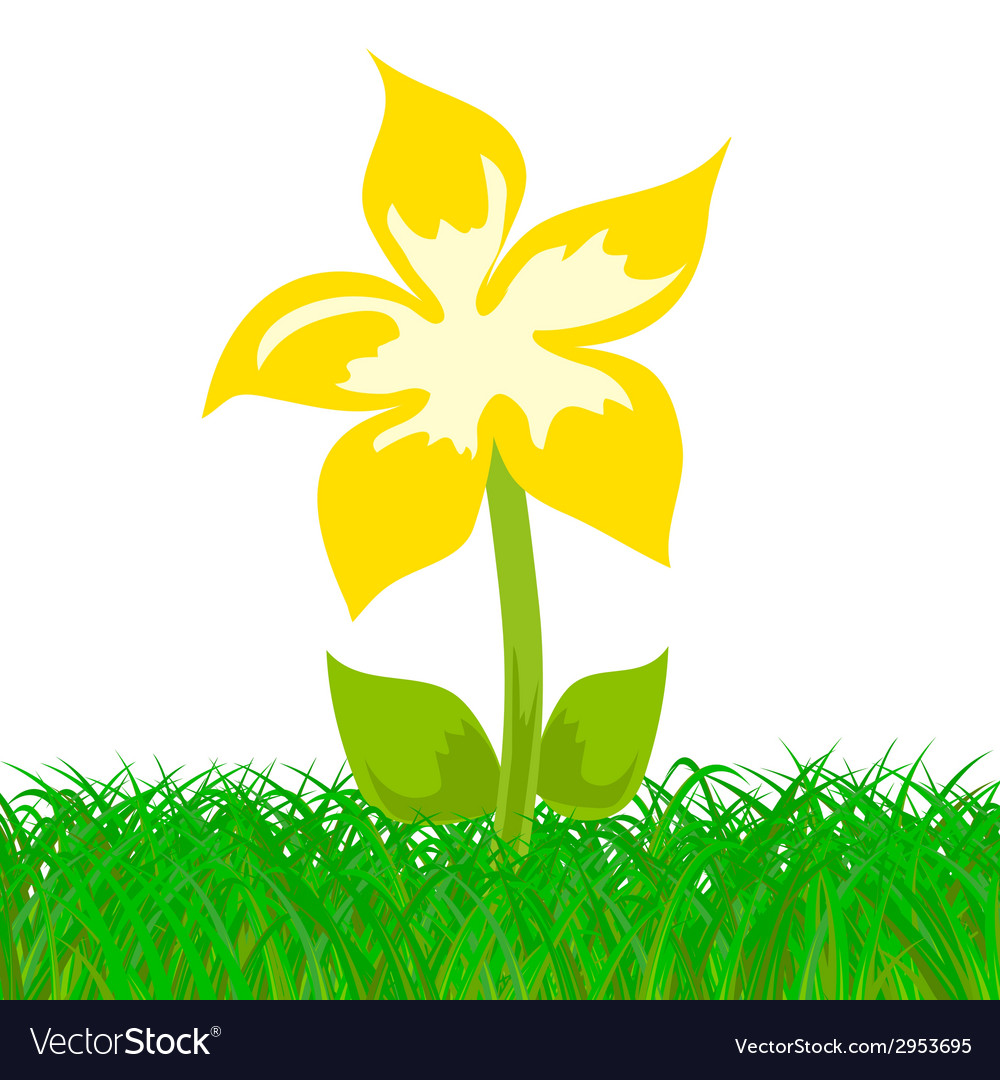Yellow flower in the grass vector | Price: 1 Credit (USD $1)