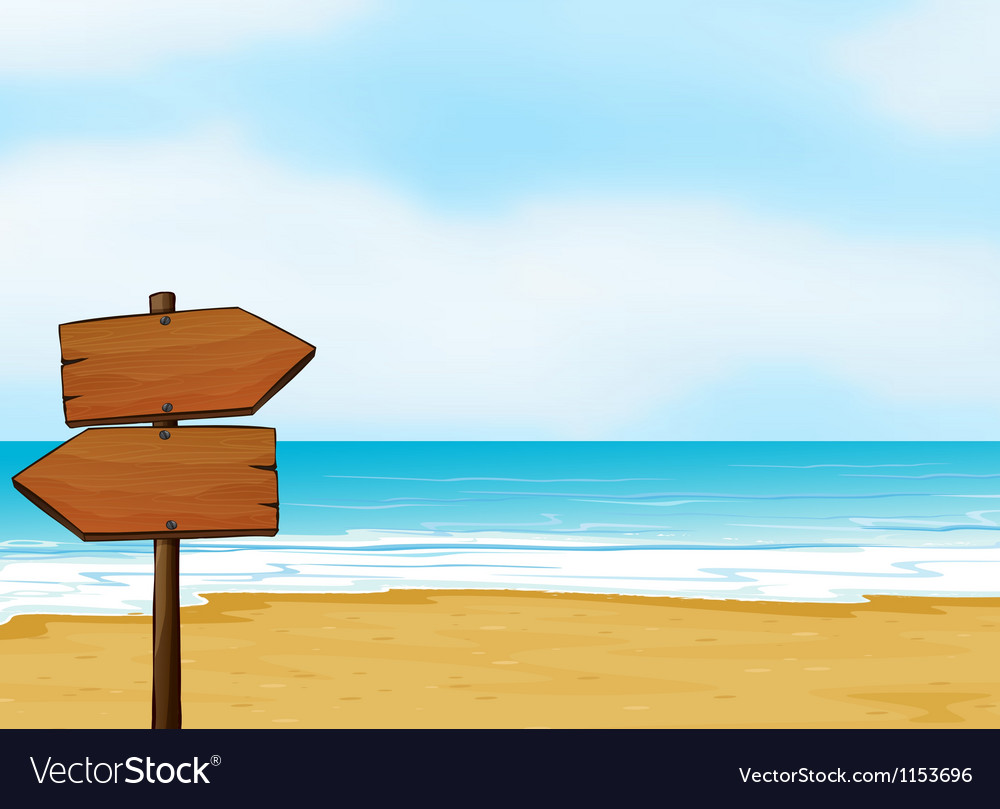 A notice board on a beach vector | Price: 1 Credit (USD $1)