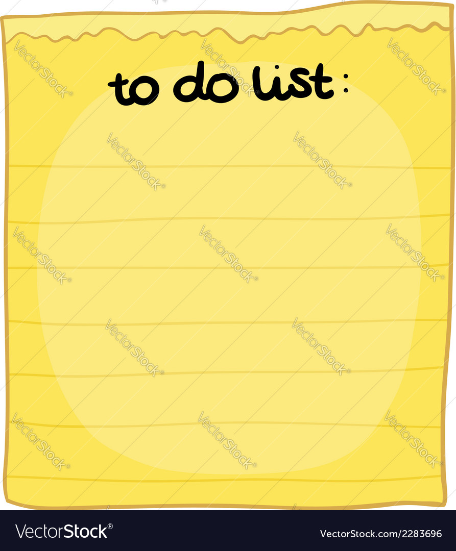 Cartoon to do list vector | Price: 1 Credit (USD $1)
