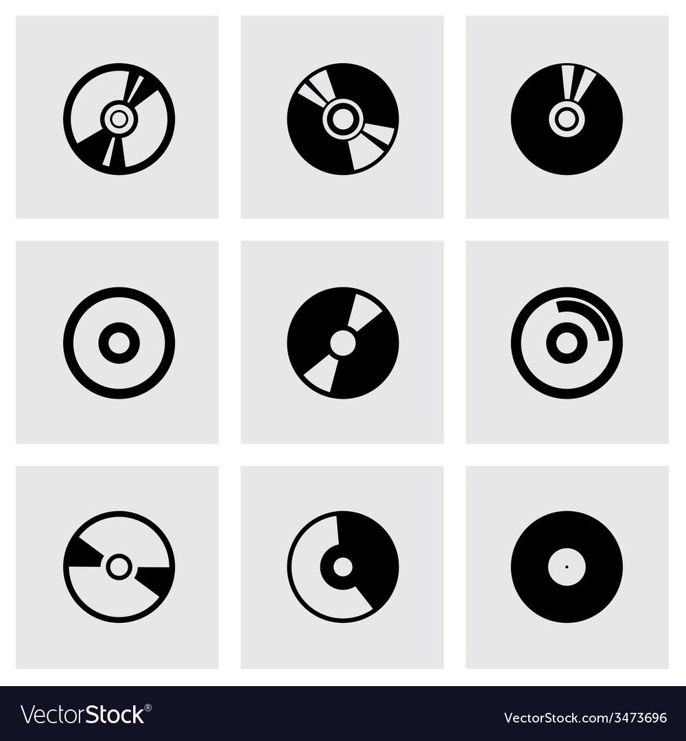 Cd icon set vector | Price: 1 Credit (USD $1)