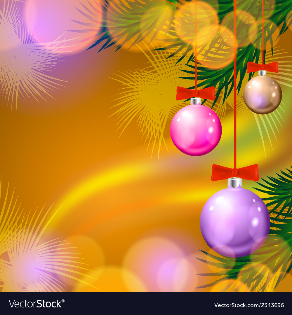 Christmas background with balls and lights vector | Price: 1 Credit (USD $1)