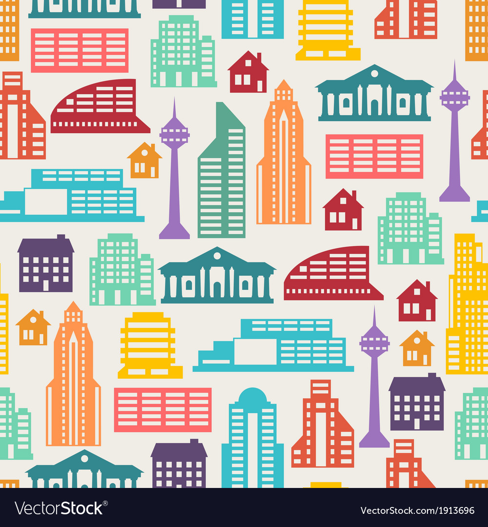 Cityscape seamless pattern with buildings vector | Price: 1 Credit (USD $1)