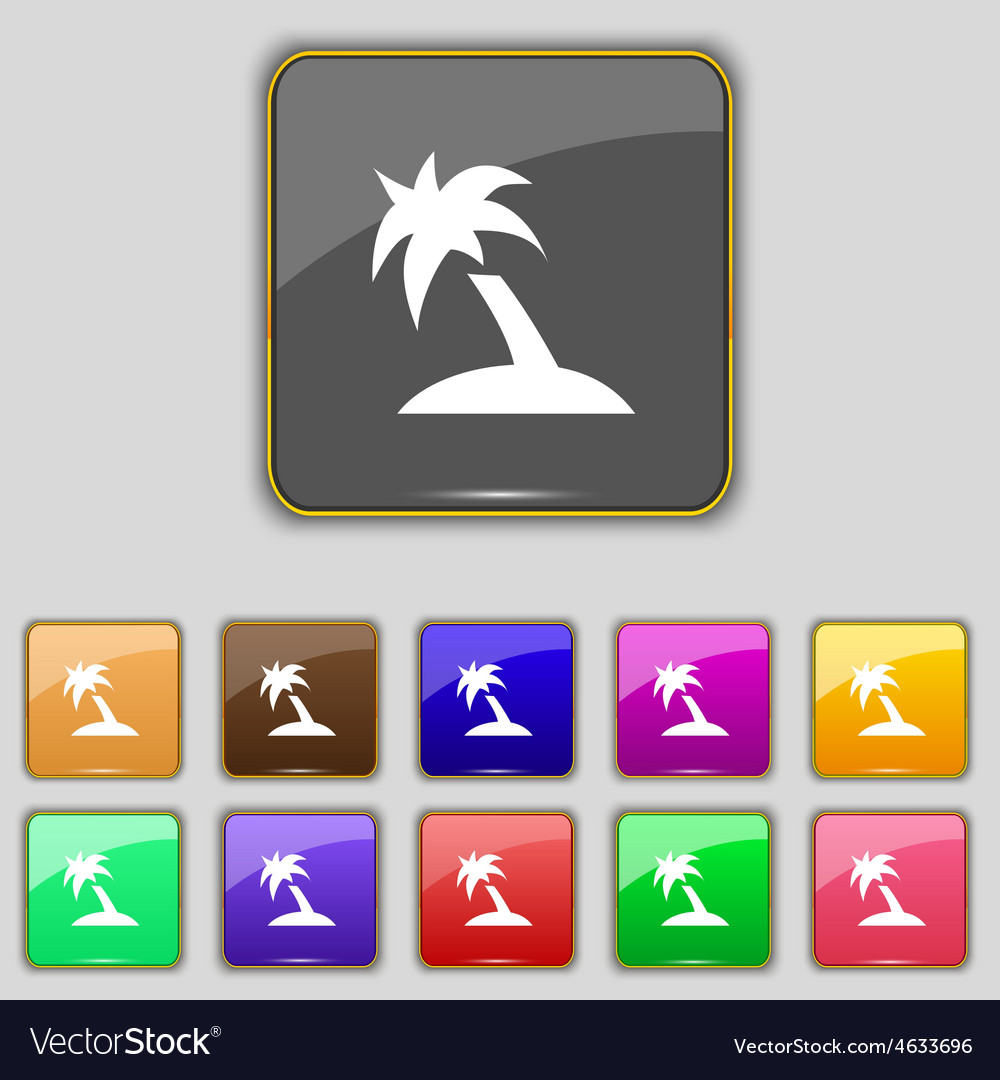 Palm tree travel trip icon sign set with eleven vector | Price: 1 Credit (USD $1)