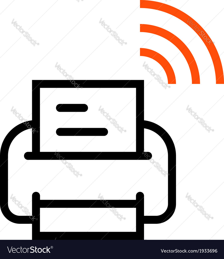 Printer with wifi icon vector | Price: 1 Credit (USD $1)