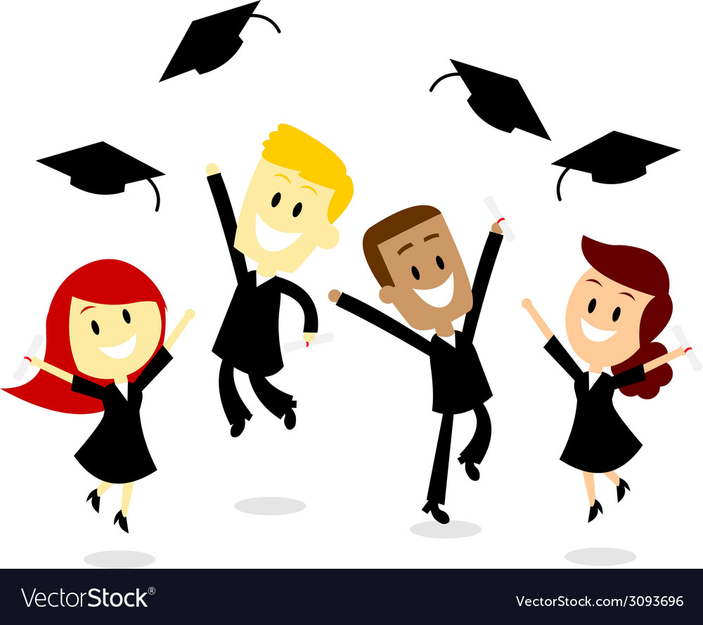 Throwing cap in graduation day vector | Price: 1 Credit (USD $1)