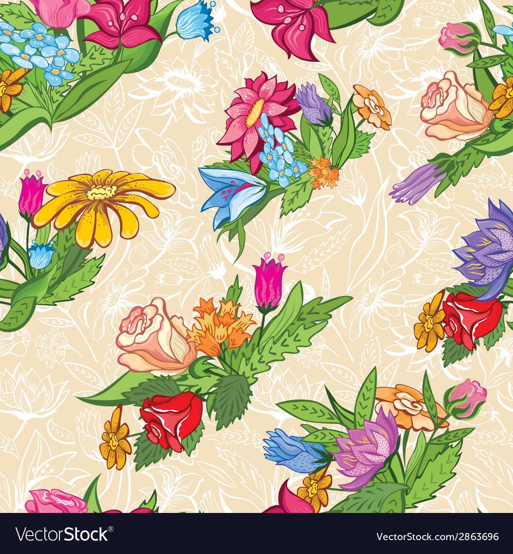 Vintage bright floral pattern vector | Price: 1 Credit (USD $1)
