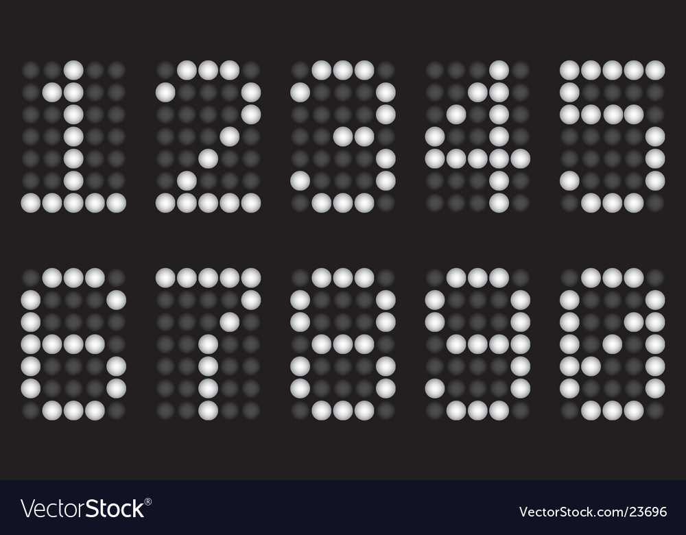 White digits for matrix display vector | Price: 1 Credit (USD $1)