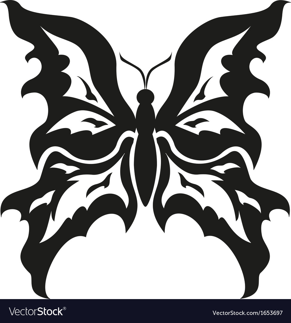 Black and white butterflies tattoo design vector | Price: 1 Credit (USD $1)