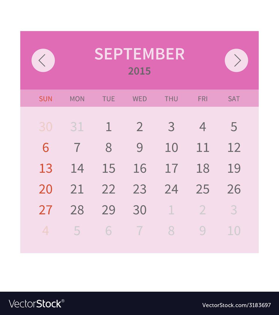 Calendar monthly september 2015 in flat design vector | Price: 1 Credit (USD $1)