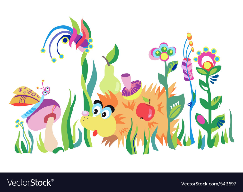 Hedgehog in the grass vector | Price: 1 Credit (USD $1)