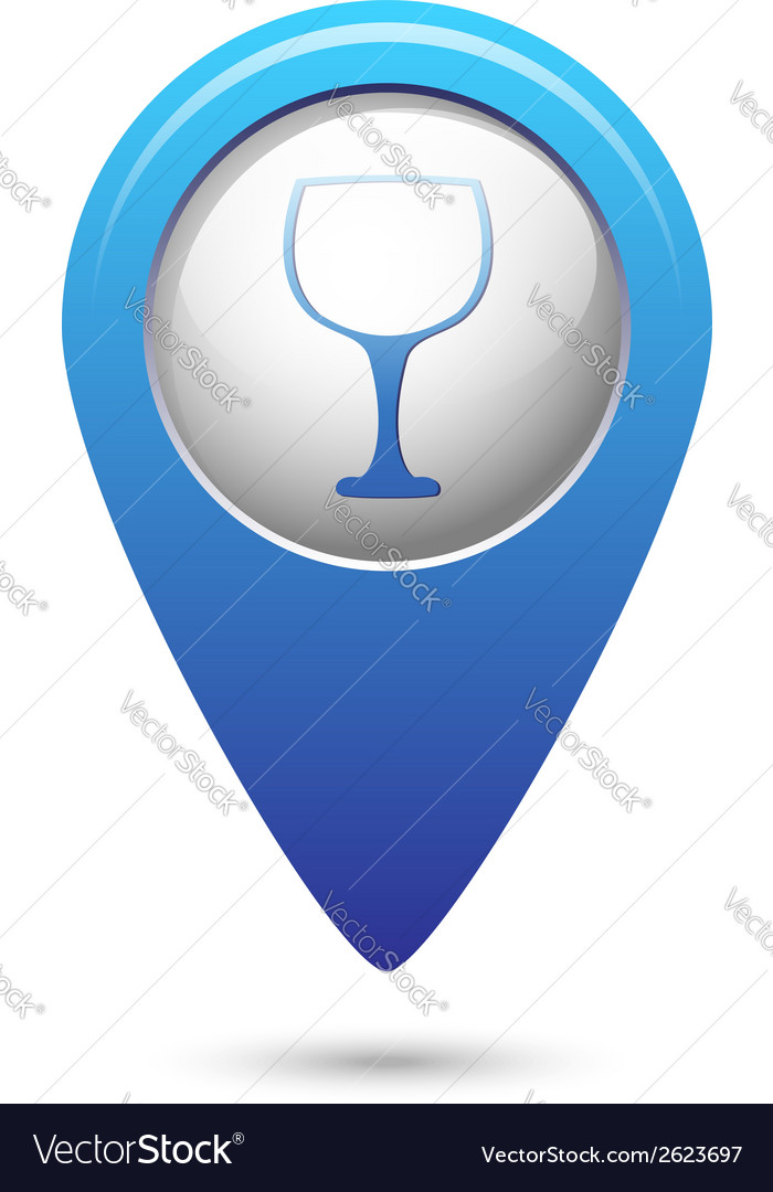 Map pointer with goblet icon vector | Price: 1 Credit (USD $1)