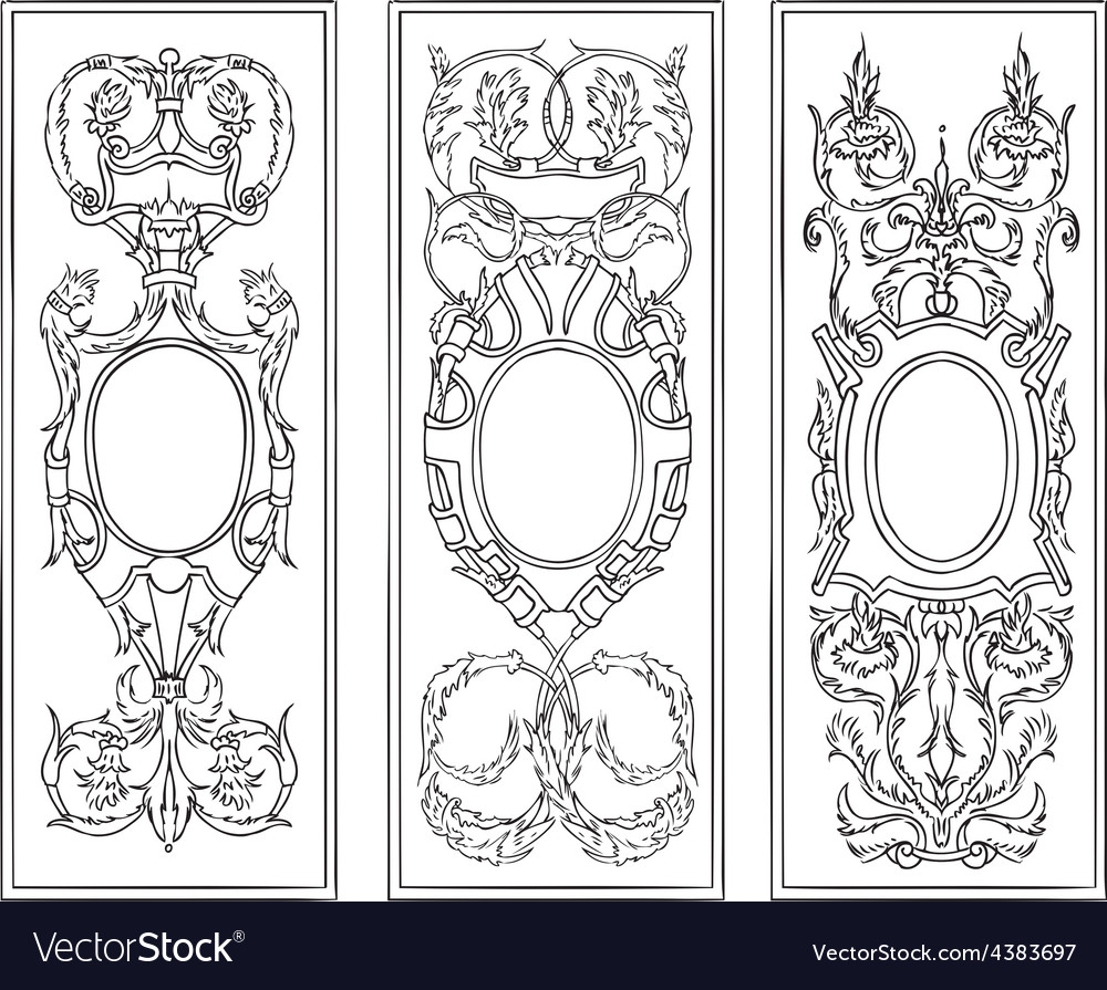 Ornate antique frames set vector | Price: 1 Credit (USD $1)