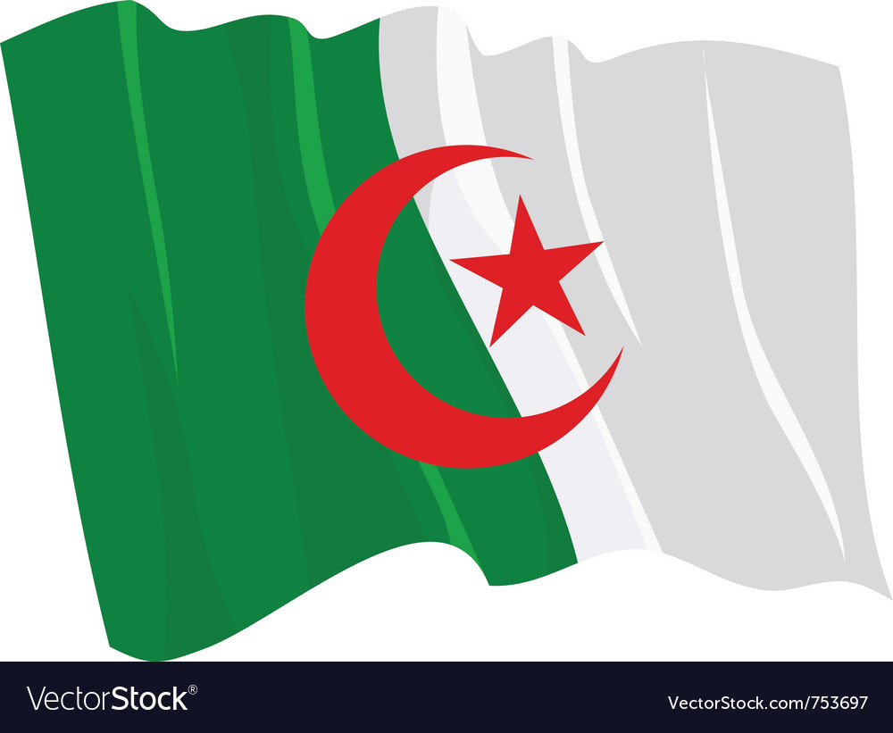 Political waving flag of algeria vector | Price: 1 Credit (USD $1)
