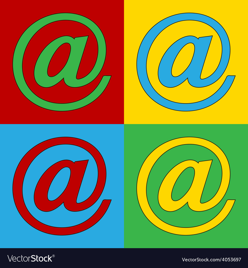 Pop art email icons vector | Price: 1 Credit (USD $1)
