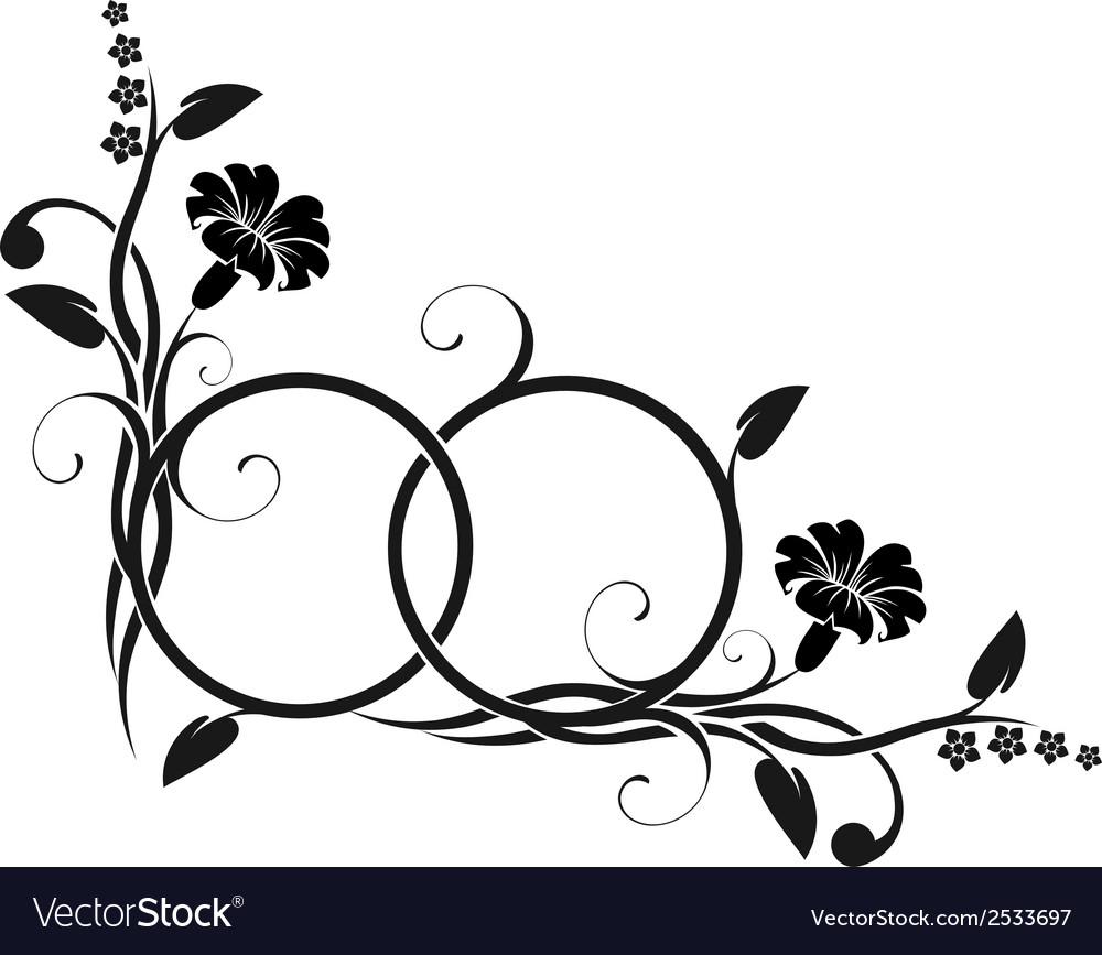 Rings with floral decor vector | Price: 1 Credit (USD $1)