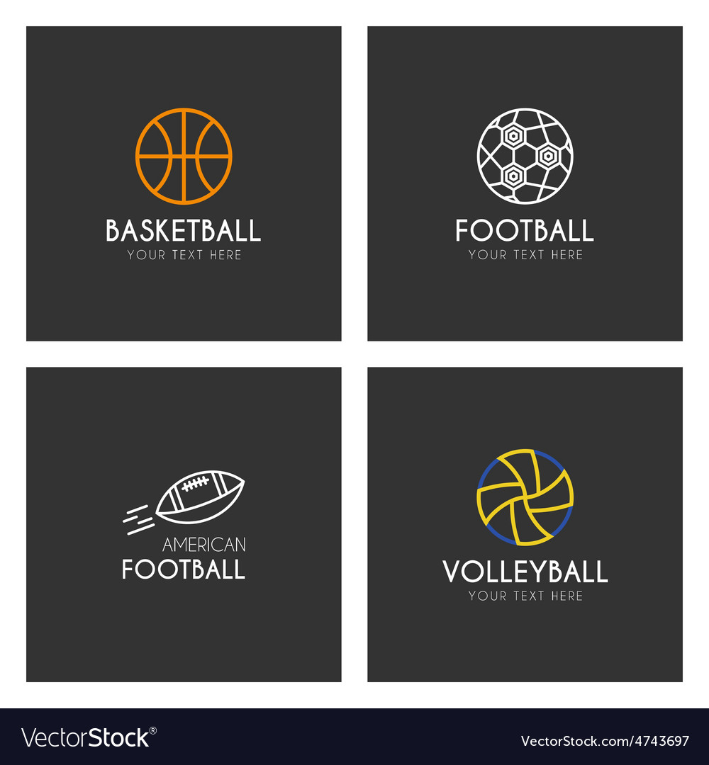 Set of line art logotype templates with sport vector | Price: 1 Credit (USD $1)