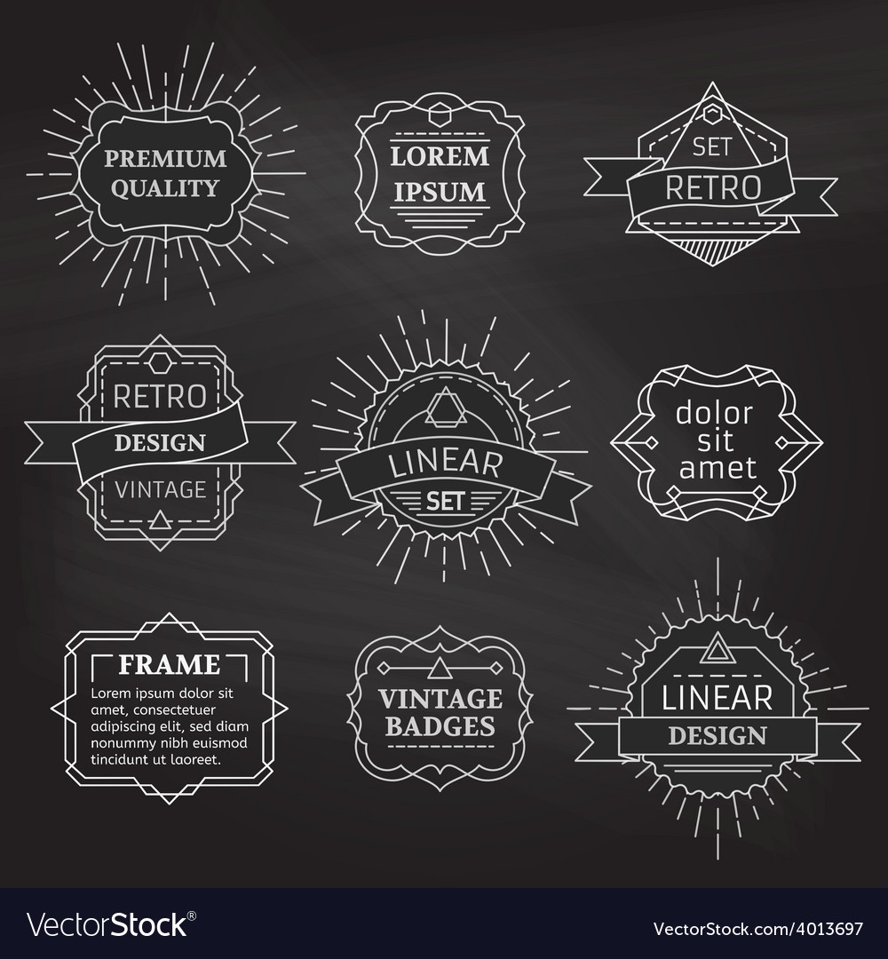 Set of linear chalk badges labels logo templates vector | Price: 1 Credit (USD $1)