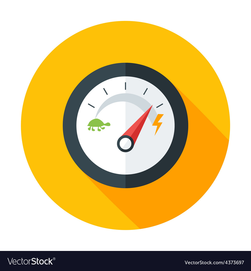 Slow and fast speedometer flat circle icon with vector | Price: 1 Credit (USD $1)