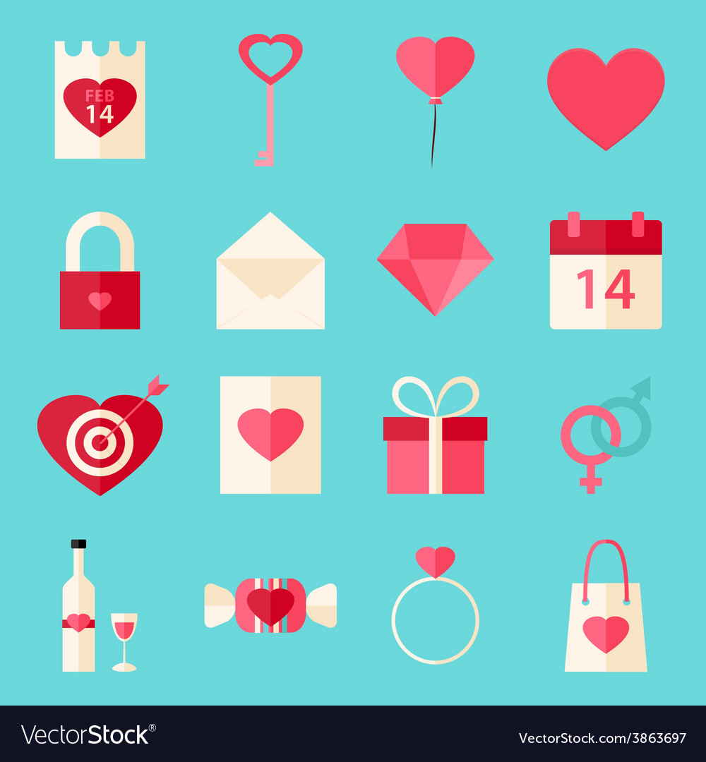 Valentine day flat style icons over blue vector | Price: 1 Credit (USD $1)
