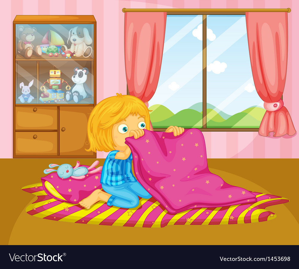 A girl folding her blanket vector | Price: 1 Credit (USD $1)