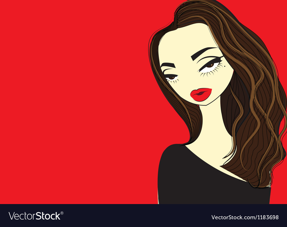 A girl with red lips color vector | Price: 1 Credit (USD $1)
