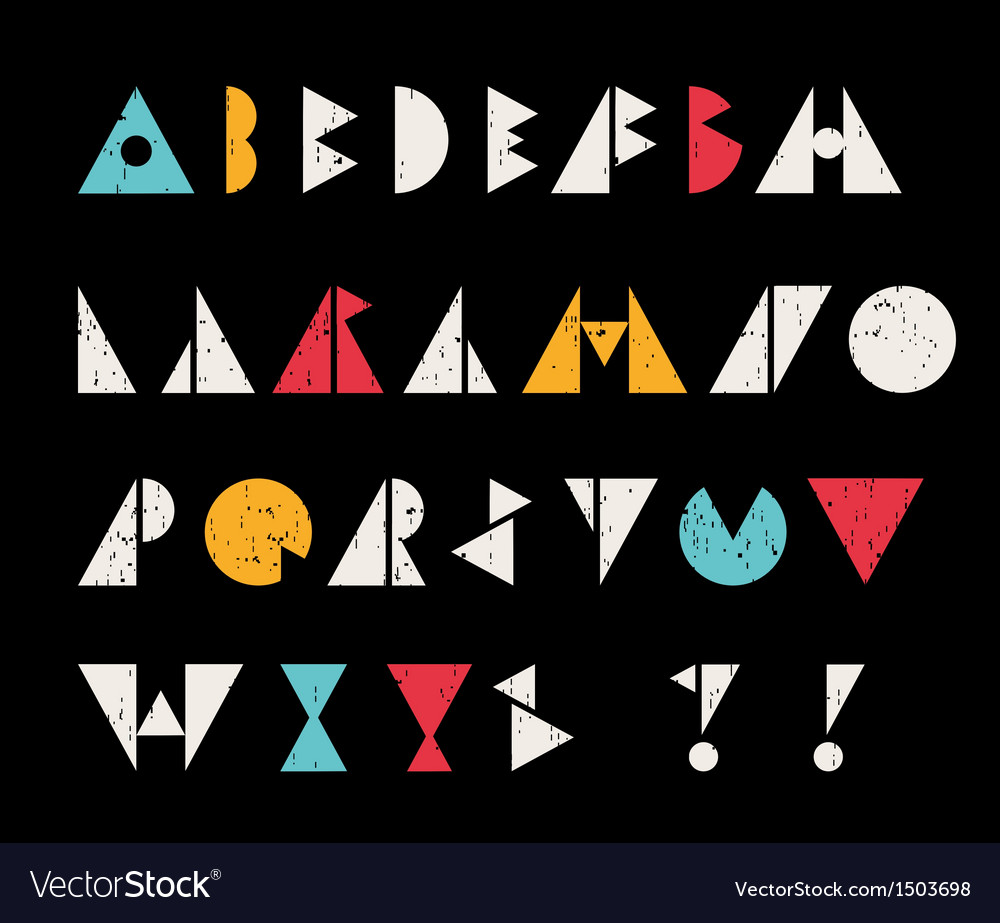 Abstract alphabet letters in retro style vector | Price: 1 Credit (USD $1)