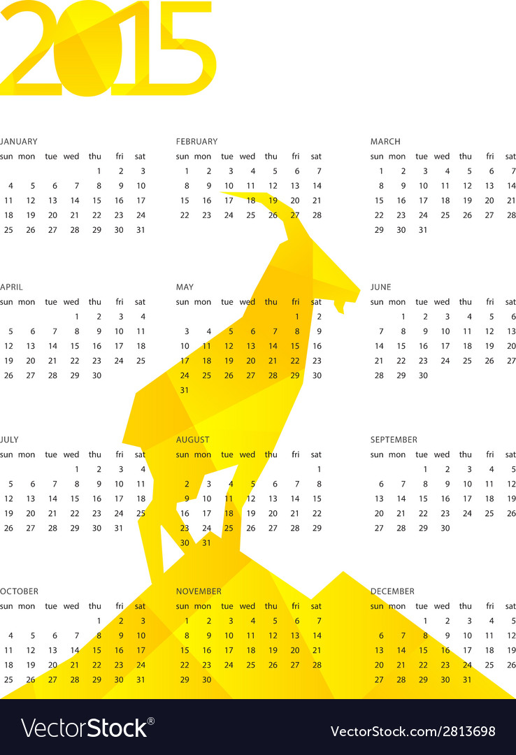 Alendar for 2015 with yellow geometric vector | Price: 1 Credit (USD $1)