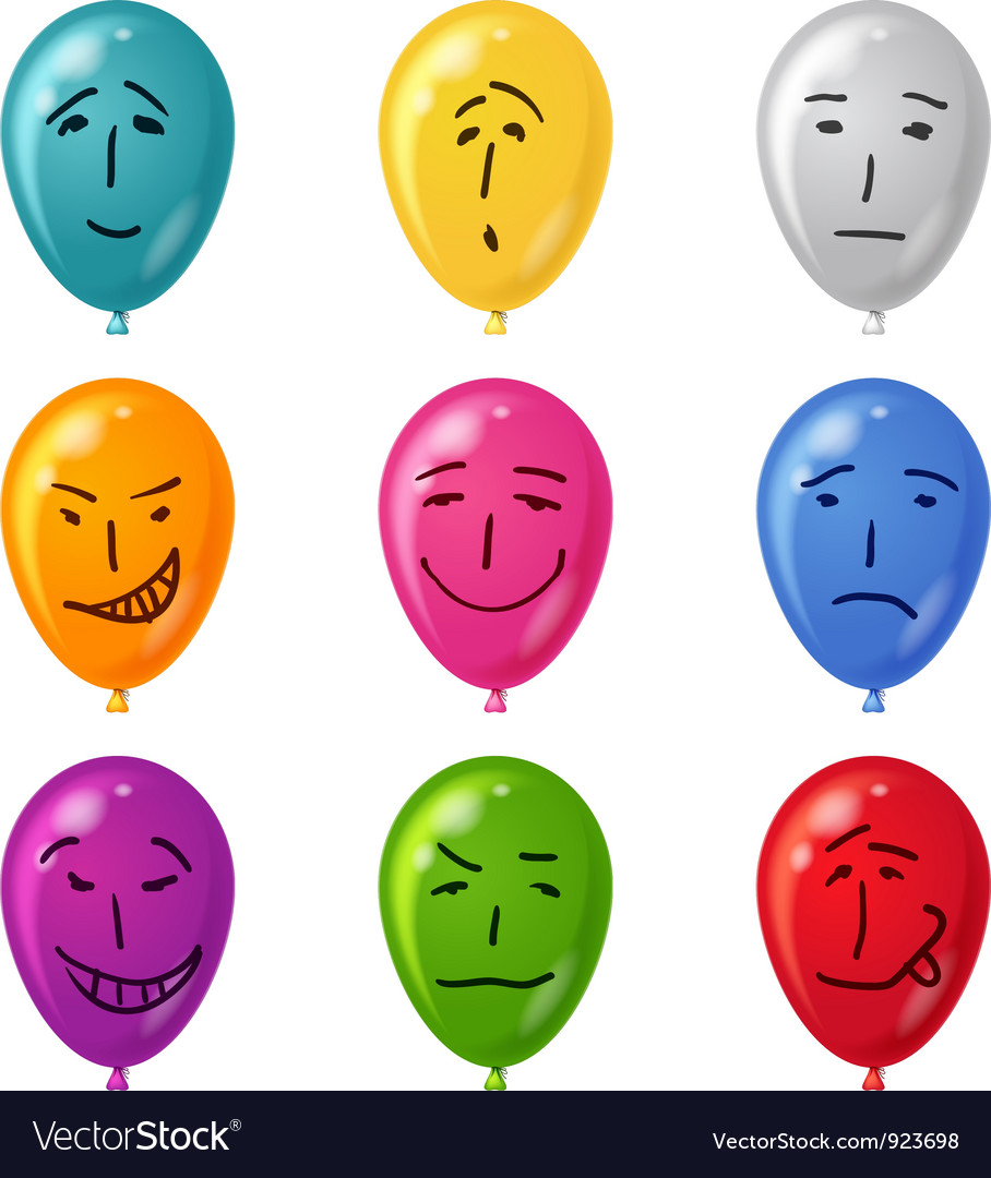 Balloon set smilies vector | Price: 1 Credit (USD $1)