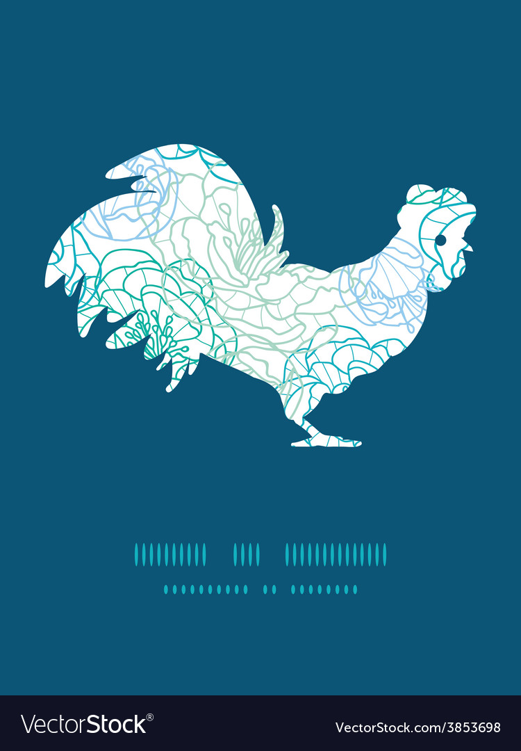 Blue line art flowers rooster silhouette vector   Price: 1 Credit (USD $1)