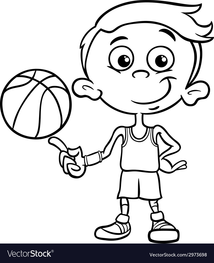 Boy basketball player coloring page vector | Price: 1 Credit (USD $1)