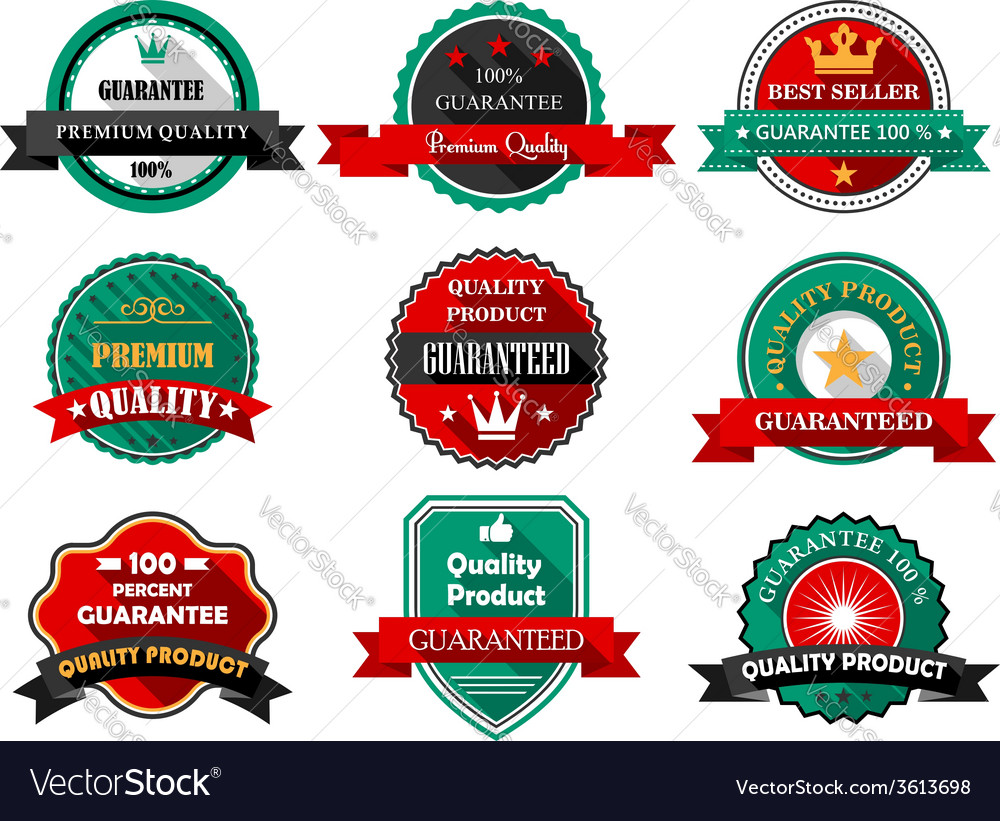 Flat quality guarantee labels vector | Price: 1 Credit (USD $1)