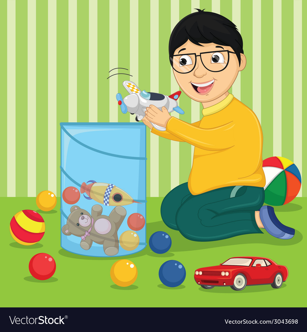 Kid with toys vector | Price: 1 Credit (USD $1)