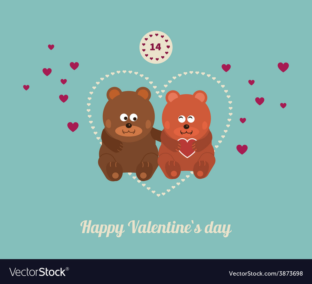 Lovers and happy bears with hearts vector | Price: 1 Credit (USD $1)